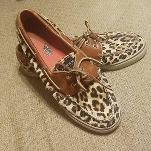 Sperry Bahama Leopard Pony Top Siders 8M
